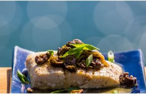 Baked Halibut with Wine/Olive Sauce